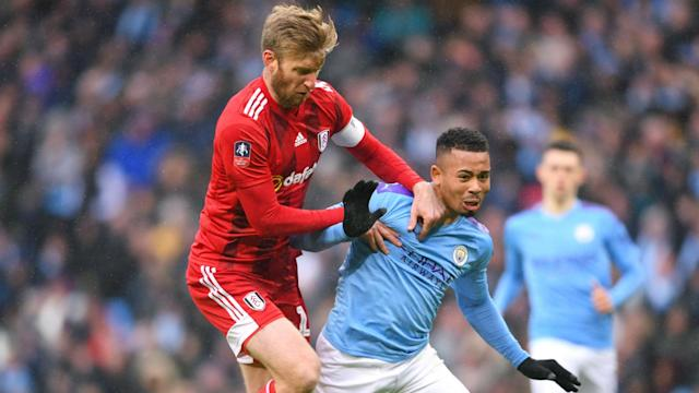 Fulham captain Tim Ream saw red after just six minutes as Manchester City eased to a 4-0 FA Cup fourth-round win on Sunday.