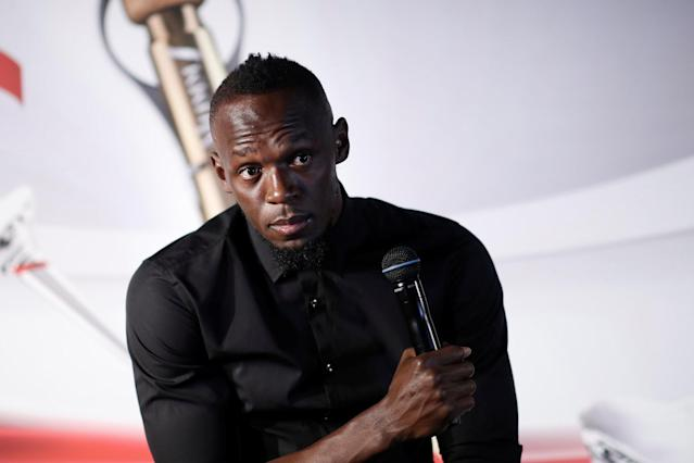 Retired sprinter Usain Bolt attends a news conference after a zero gravity conditions flight in a specially modified plane above Reims, France, September 12, 2018. Picture taken September 12, 2018. REUTERS/Benoit Tessier