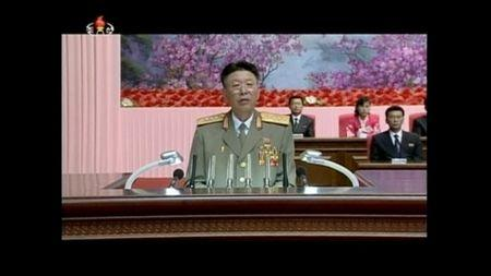 North Korea's army chief of staff Ri Yong Gil makes a speech in Pyongyang August 24, 2014, in this still image taken from KRT file video footage. REUTERS/KRT via Reuters TV