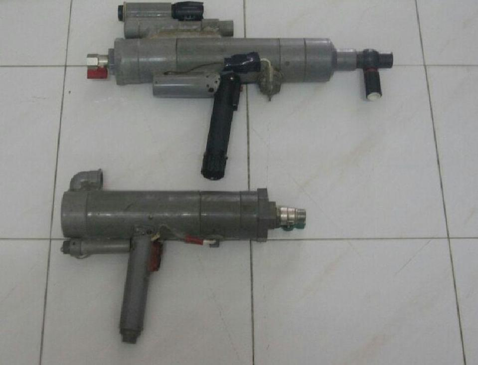 The two home-made air guns seized from a senior citizen following a police raid on his house in Taman Ulu Choh in Iskandar Puteri February 16, 2021. — Picture courtesy of the Iskandar Puteri district police