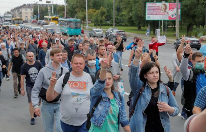 Employees of Minsk Tractor Works protest against presidential election results in Minsk
