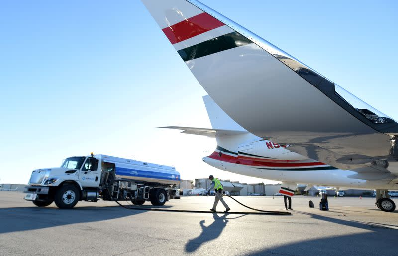 FILE PHOTO: A business jet is refuelled at Henderson Executive Airport in Las Vegas
