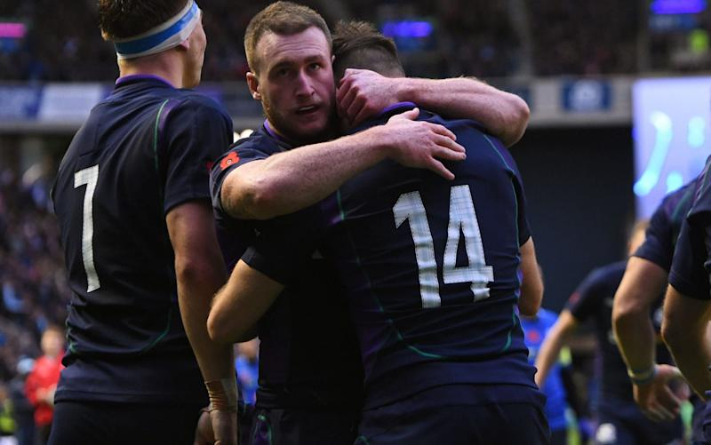 Stuart Hogg (centre) is one of the most exciting full-backs in the world - AFP