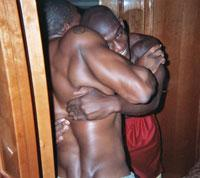 Nevin Shapiro and a second source said this photo was taken in one of the bedrooms aboard the booster's $1.6 million yacht in 2003. Antrel Rolle (in red shorts) is wrestling with Carl Walker. (Photo special to Yahoo! Sports)