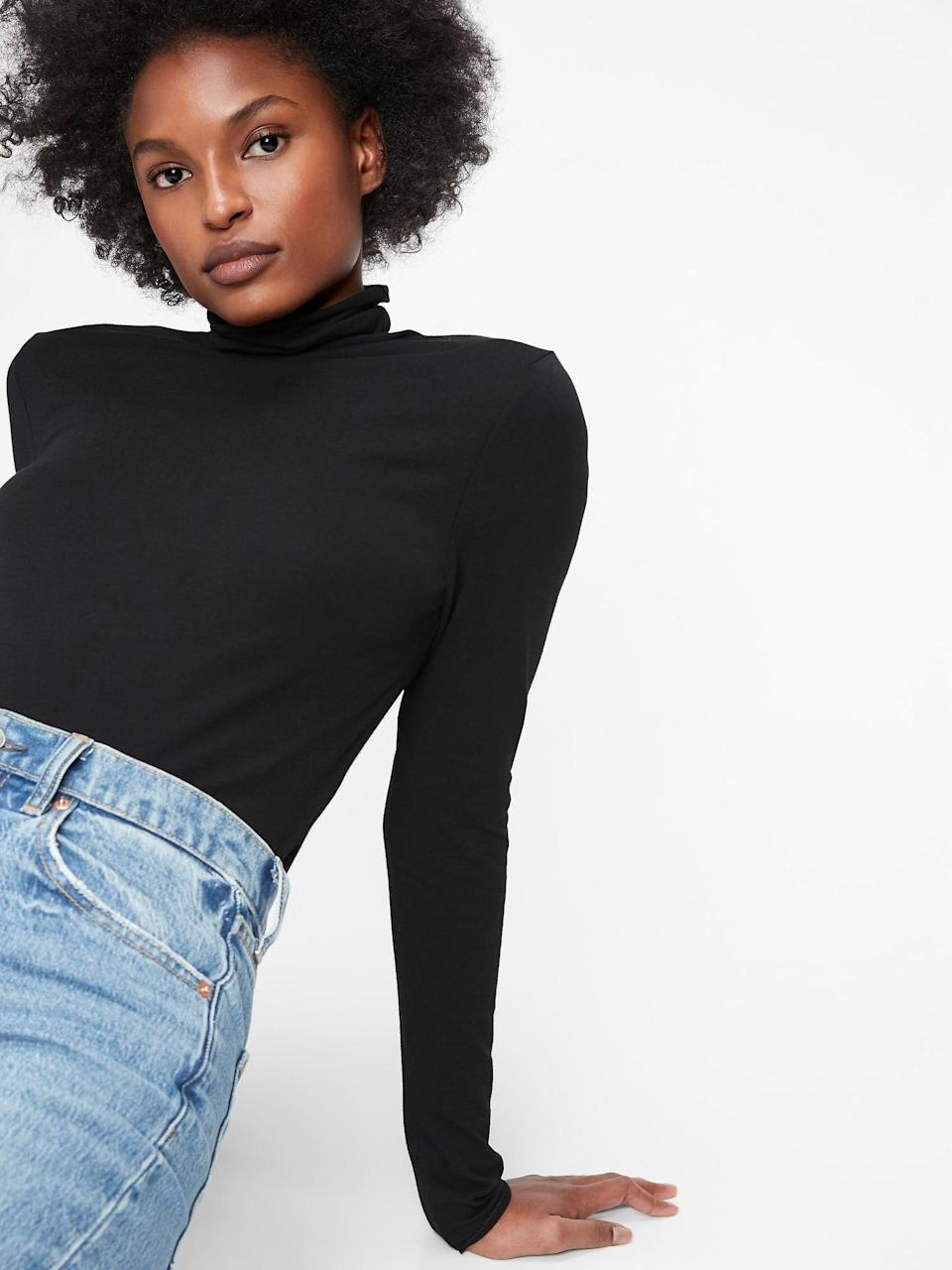 <p>Grab this <span>Gap Fitted Funnel-Neck T-Shirt</span> ($30); it's the ultimate light layering piece.</p>