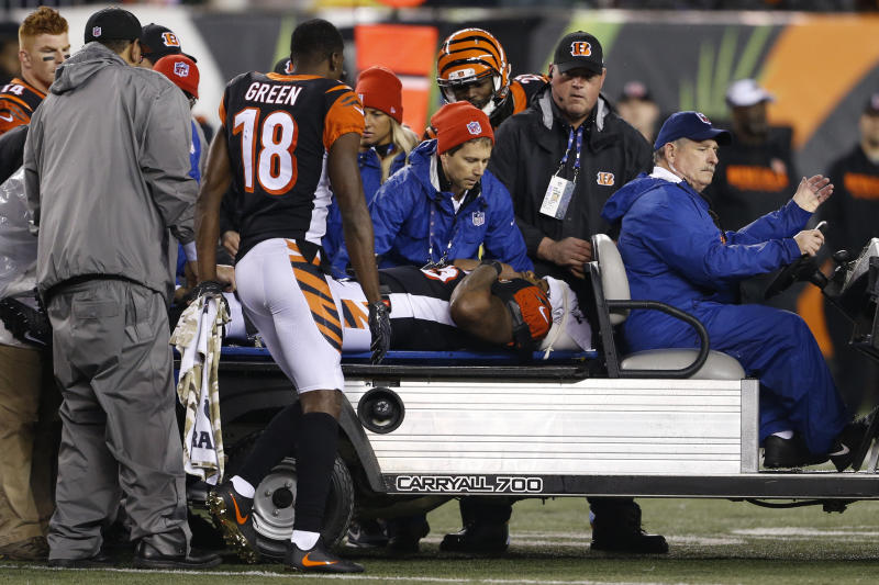 Bengals linebacker Vontaze Burfict (55) was carted off the field Monday after receiving a vicious block from Steelers rookie JuJu Smith-Schuster. (AP)