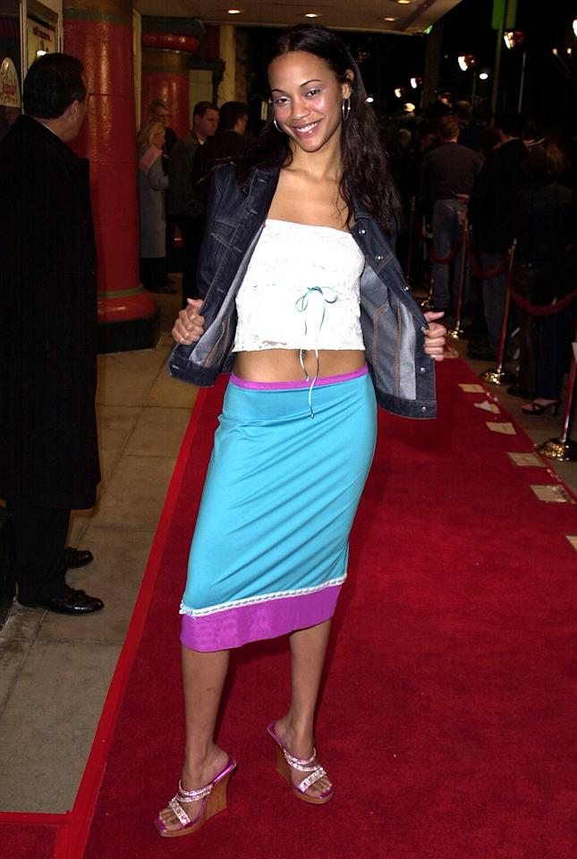 <p><em><em>Saldana shows off her colorful ensemble at the premiere of her second film, <em>Get Over It,</em> on March 8, 2001, in Los Angeles, Calif. (Photo: Steve Granitz/WireImage) </em></em></p>