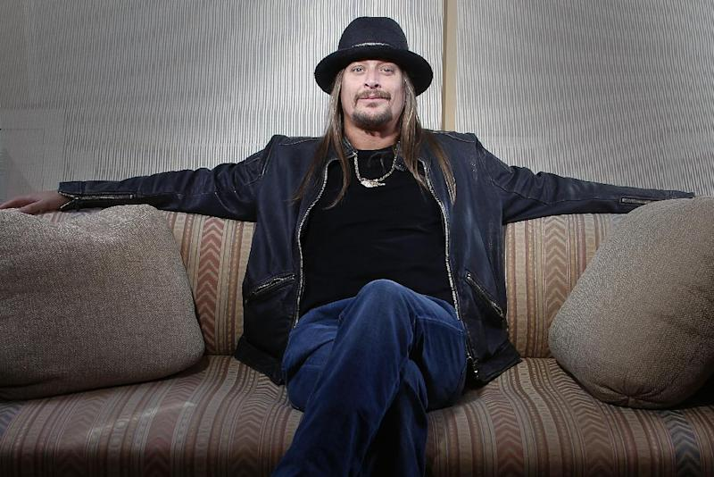 """FILE - This Nov. 14, 2012 file photo shows Grammy-award winning artist  Kid Rock posing for a portrait in New York. Kid Rock's """"$20 Best Night Never Tour"""" kicks off June 28 in Bristow, Va., and opening acts include ZZ Top, Uncle Kracker and Kool and the Gang. (Photo by Carlo Allegri/Invision/AP, file)"""