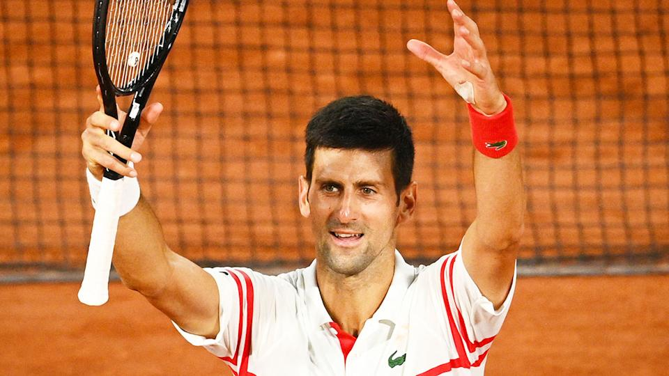 Novak Djokovic is pictured here after his epic win against Rafael Nadal at the French Open.
