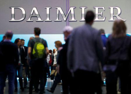 The Daimler logo is seen before the Daimler annual shareholder meeting in Berlin