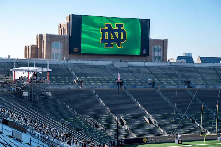 SOUTH BEND, INDIANA - NOVEMBER 07:  A general view of the ESPN College Gameday set in Notre Dame Stadium before the game between the Notre Dame Fighting Irish and the Clemson Tigers on November 7, 2020 in South Bend, Indiana. (Photo by Matt Cashore-Pool/Getty Images)