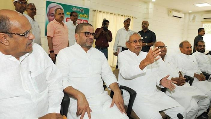 Bihar Chief Minister Nitish Kumar with Prashant Kishore, K C Tyagi and others at the National Executive meeting of the Janta Dal United, on June 9, 2019 in Patna, India.
