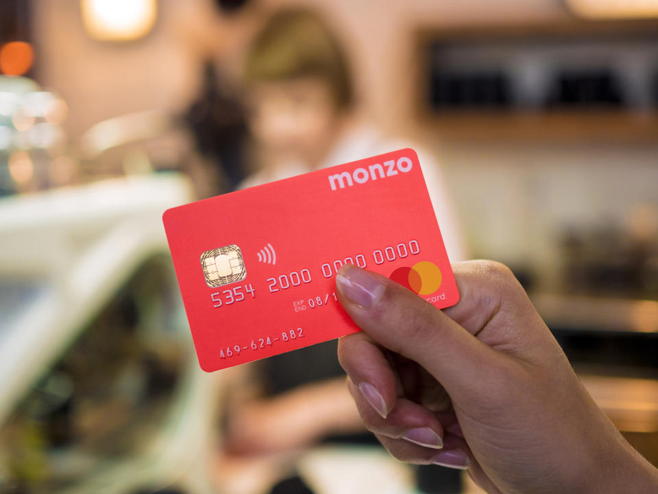 Monzo's 'hot coral' debit card. Photo: Monzo