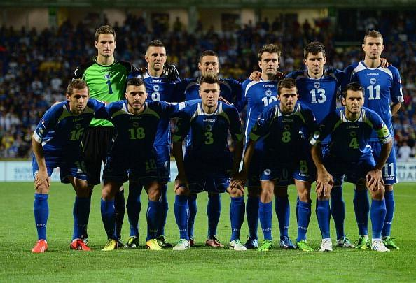Bosnia-Herzegovina pose before their FIFA 2014 World Cup qualifier vs. Slovakia at the MSK Zilina stadium on September 10, 2013 in Zilina, Slovakia. (Getty Images)
