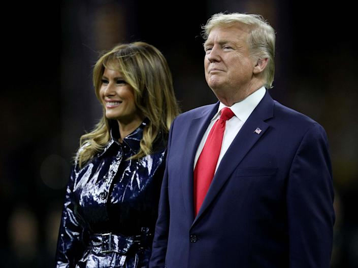 Donald and Melania Trump attend the College Football Playoff National Championship game between the Clemson Tigers and the LSU Tigers at Mercedes Benz Superdome on 13 January 2020 in New Orleans, Louisiana: Chris Graythen/Getty