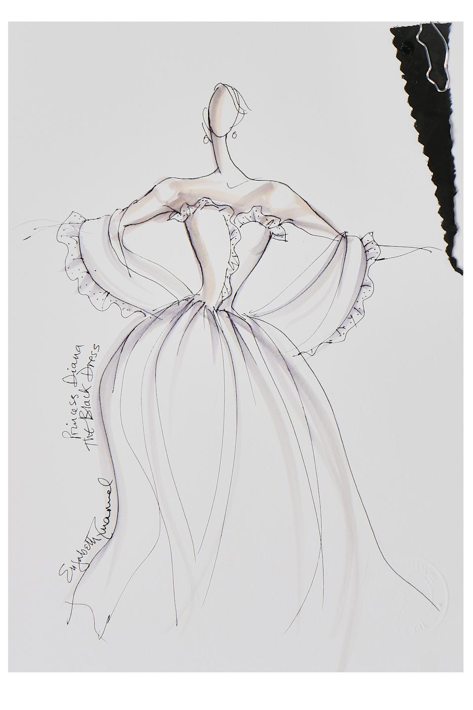 Elizabeth Emanuel sketch of Lady Diana Spencer's 1981 sequinned black taffeta evening gown. (Kerry Taylor auctions)