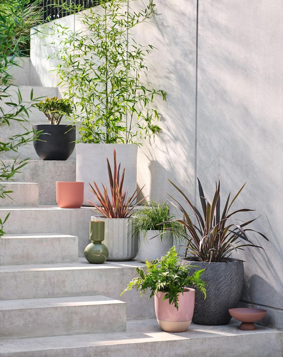 """<p>Don't neglect your outdoor space. Whether you have a garden, patio or <a href=""""https://www.housebeautiful.com/uk/garden/designs/how-to/a781/balcony-garden-guide/"""" rel=""""nofollow noopener"""" target=""""_blank"""" data-ylk=""""slk:balcony"""" class=""""link rapid-noclick-resp"""">balcony</a>, choose <a href=""""https://www.housebeautiful.com/uk/garden/plants/g32286182/outdoor-plant-pots/"""" rel=""""nofollow noopener"""" target=""""_blank"""" data-ylk=""""slk:outdoor plant pots"""" class=""""link rapid-noclick-resp"""">outdoor plant pots</a> which combine clean lines, texture and structural shapes.</p><p>• Shop the look at <a href=""""https://www.dobbies.com/"""" rel=""""nofollow noopener"""" target=""""_blank"""" data-ylk=""""slk:Dobbies"""" class=""""link rapid-noclick-resp"""">Dobbies</a></p>"""