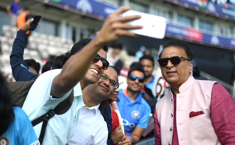 SOUTHAMPTON, ENGLAND - JUNE 22: Commentator and ex player Sunil Gavaskar has his picture taken by fans during the Group Stage match of the ICC Cricket World Cup 2019 between India and Afghanistan at The Ageas Bowl on June 22, 2019 in Southampton, England. (Photo by Stu Forster-IDI/IDI via Getty Images)