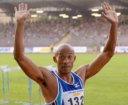 FRANK FREDERICKS OF NAMIBIA WINS THE 100 METRES AT A MEETING IN LINZ.