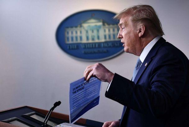 PHOTO: President Donald Trump speaks during a press briefing at the White House in Washington, on March 16, 2020. (Brendan Smialowski/AFP via Getty Images)