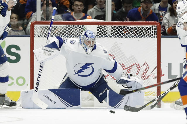 Tampa Bay Lightning goaltender Andrei Vasilevskiy stops a shot on goal during the first period of the team's NHL hockey game against the New York Islanders on Friday, Nov. 1, 2019, in Uniondale, N.Y. (AP Photo/Frank Franklin II)