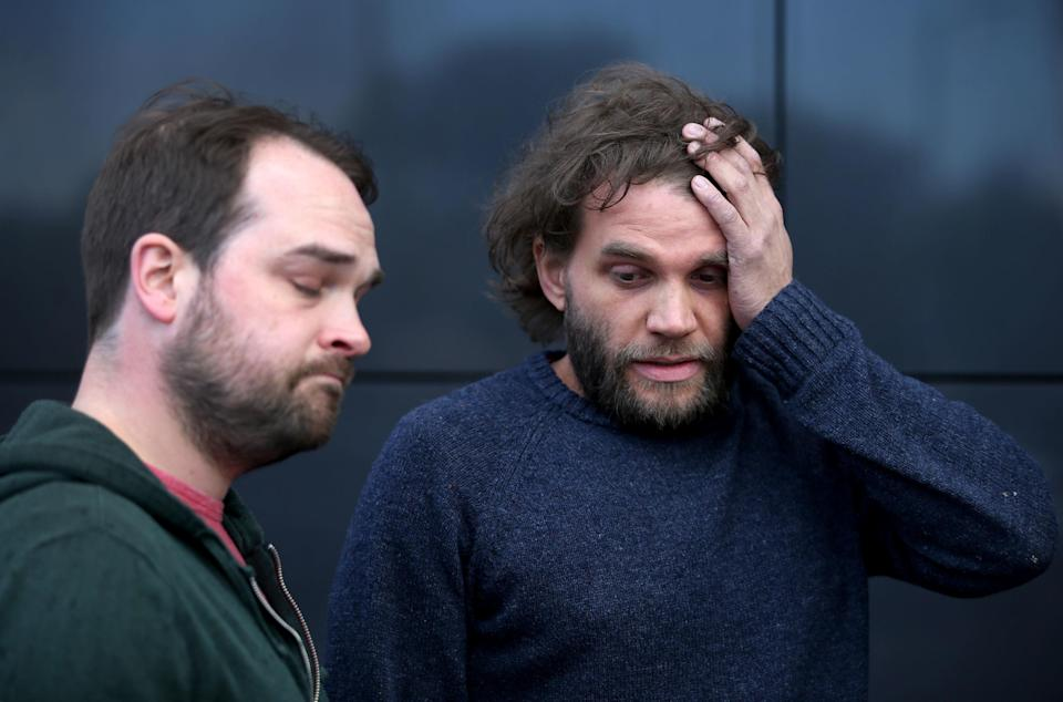 <em>Neil Hutchison (left) and Grant Hutchison, the brothers of Scott Hutchison, during a press conference at the Dakota Hotel in South Queensferry, near Edinburgh (Picture: PA)</em>