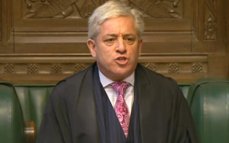 Commons Speaker John Bercow announced the result - Credit: PA