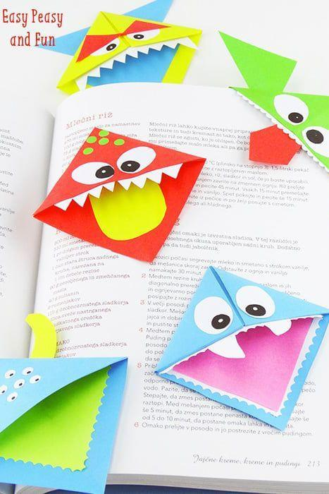 """<p>Encourage them to read <a href=""""https://www.countryliving.com/life/entertainment/g22249376/halloween-books-for-kids/"""" rel=""""nofollow noopener"""" target=""""_blank"""" data-ylk=""""slk:Halloween books for kids"""" class=""""link rapid-noclick-resp"""">Halloween books for kids</a> at school and at home with these colorful monster bookmarks.</p><p><strong>Get the tutorial at <a href=""""https://www.easypeasyandfun.com/diy-corner-bookmarks/"""" rel=""""nofollow noopener"""" target=""""_blank"""" data-ylk=""""slk:Easy Peasy and Fun"""" class=""""link rapid-noclick-resp"""">Easy Peasy and Fun</a>.</strong> </p>"""