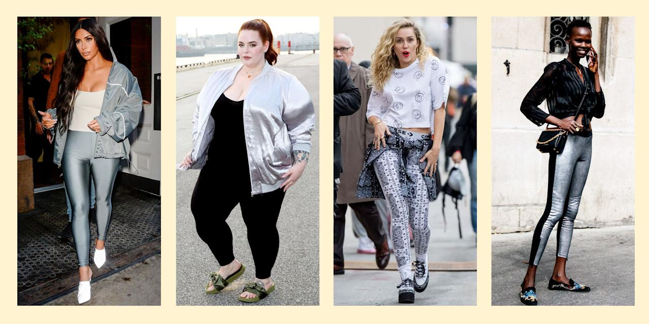 """<p>We all have<a href=""""https://www.seventeen.com/fashion/g27325538/best-lululemon-leggings/"""" target=""""_blank""""> black leggings</a>, right? We wear them 24/7... to class, to the gym and beyond. Leggings are the ultimate go-to basic. But you can make them ANYTHING but by following our helpful styling tips and cues from celebs and street style influencers. Be like <a href=""""https://www.seventeen.com/celebrity/a23458173/photoshop-fail-keeping-up-with-the-kardashians/"""" target=""""_blank"""">Kim K </a>and wear <a href=""""https://www.seventeen.com/prom/prom-style/g201/best-prom-shoes-2017/"""" target=""""_blank"""">metallics</a> from head to toe (yes, including your leggings). Try a look like <a href=""""https://www.seventeen.com/celebrity/celebrity-couples/a25692951/miley-cyrus-liam-hemsworth-relationship-timeline/"""" target=""""_blank"""">Miley Cyrus</a> and channel your inner rocker chick with on-point tights. Not only will you look cool, but you can be comfortable, too! WIN.</p>"""