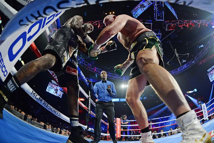 Deontay Wilder and Tyson Fury box during their WBC heavyweight title bout at MGM Grand Garden Arena on Feb. 22, 2020. Fury won via seventh round TKO.
