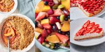 """<p>What are we looking forward to most about summer? Delicious. Fresh. Ripened. Fruit. Yep! We're talking strawberries, peaches, blueberries and more. But, other than eating them fresh, how else can you use them? We've pulled together some of our all-time favourite summer fruit recipes including <a href=""""https://www.delish.com/uk/cooking/recipes/a30527061/easy-fruit-salad-recipe/"""" rel=""""nofollow noopener"""" target=""""_blank"""" data-ylk=""""slk:Fruit Salad"""" class=""""link rapid-noclick-resp"""">Fruit Salad</a> (duh), <a href=""""https://www.delish.com/uk/cooking/recipes/a30493223/peach-crumble-recipe/"""" rel=""""nofollow noopener"""" target=""""_blank"""" data-ylk=""""slk:Peach Crumble"""" class=""""link rapid-noclick-resp"""">Peach Crumble</a> and even <a href=""""https://www.delish.com/uk/cooking/recipes/a31467640/blueberry-no-churn-ice-cream-recipe/"""" rel=""""nofollow noopener"""" target=""""_blank"""" data-ylk=""""slk:No Churn Blueberry Ice Cream"""" class=""""link rapid-noclick-resp"""">No Churn Blueberry Ice Cream</a>. So, if you need some summertime inspiration, take a look at what we've got to offer...We're convinced you're going to love them! </p>"""