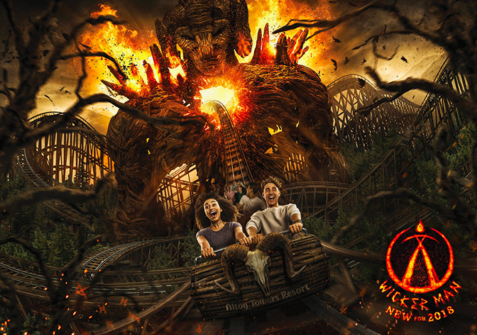 <em>The Wicker Man ride is the first wooden rollercoaster to be built in the UK for 21 years (PA)</em>