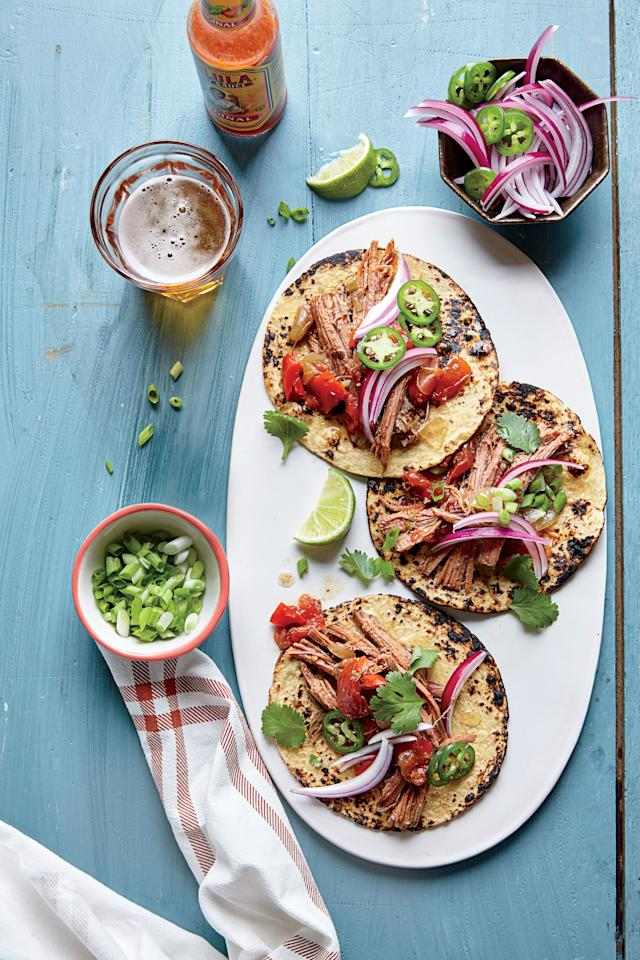 """<p><b>Recipe: <a href=""""https://www.southernliving.com/syndication/slow-cooker-barbacoa-brisket"""">Slow Cooker Barbacoa Brisket</a></b></p> <p>This tender slow-cooker beef is delicious served on tacos with fresh ingredients like onions, tomatoes, cilantro, and jalapenos.</p>"""