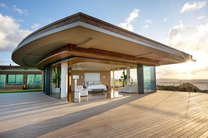 The Oasis estate's master bedroom resides on the top floor and boasts its own private terrace.