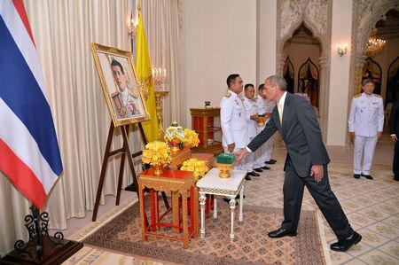 Craig Challen, Australian member of the Thai cave rescue team receives the Member of the Most Admirable Order of the Direkgunabhorn award in front of a portrait of Thailand's King Maha Vajiralongkorn at the Government House in Bangkok, Thailand, April 19, 2019. Thailand Government House/Handout via REUTERS