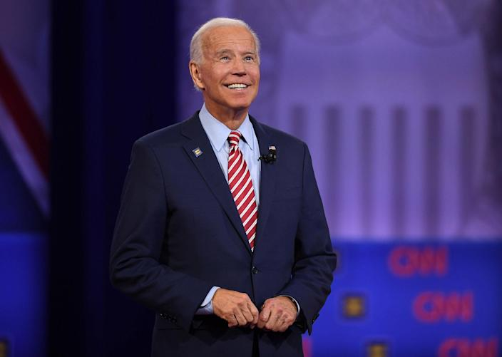 Image: Democratic presidential hopeful President Joe Biden gestures as he speaks during a town hall in Los Angeles. (Robyn Beck / AFP - Getty Images file)