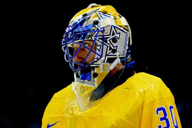 SOCHI, RUSSIA - FEBRUARY 23: Henrik Lundqvist #30 of Sweden looks on during the Men's Ice Hockey Gold Medal match against Canada on Day 16 of the 2014 Sochi Winter Olympics at Bolshoy Ice Dome on February 23, 2014 in Sochi, Russia. (Photo by Harry How/Getty Images)