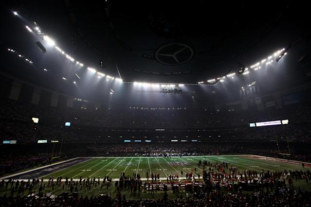 NEW ORLEANS, LA - FEBRUARY 03: A general view of the Mercedes-Benz Superdome after a sudden power outage in the second half during Super Bowl XLVII at the Mercedes-Benz Superdome on February 3, 2013 in New Orleans, Louisiana. (Photo by Dilip Vishwanat/Getty Images)