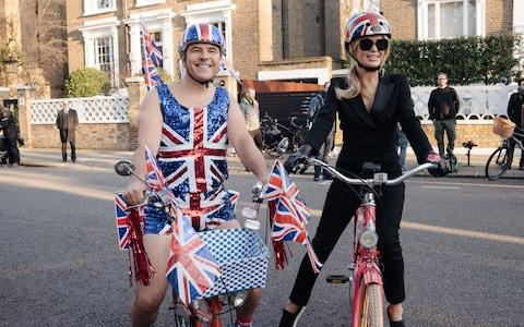 David Walliams and Amanda Holden on their bike ride - Credit: Syco/Thames