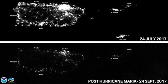 <p>A combination of NOAA Satellite images taken at night shows Puerto Rico before and after Hurricane Maria – Puerto Rico on July 24, 2014 (top) and after Hurricane Maria knocked out power grid in Puerto Rico taken on Sept. 24, 2017. (Photo: NASA/NOAA GOES Project/Handout via Reuters) </p>