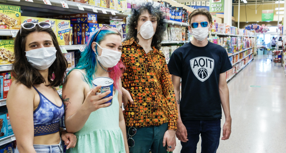 Teens in face masks shopping at a Publix grocery store in Miami Beach in May 2020. (Photo by: Jeffrey Greenberg/Education Images/Universal Images Group via Getty Images)