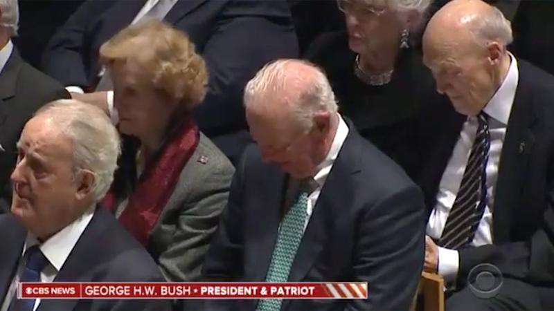 Former secretary of state James A. Baker III, center, cries at best friend's funeral.
