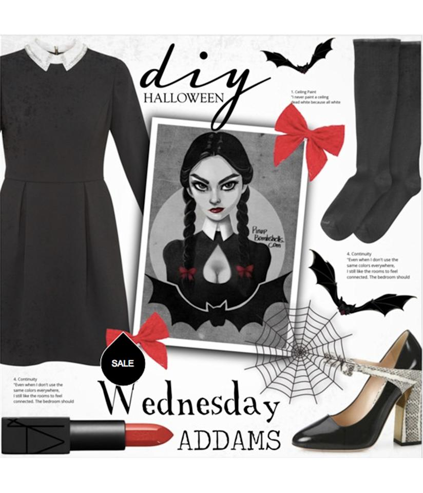 "<p>Wednesday Addams gets a high-fashion twist in <a rel=""nofollow"" href=""http://www.polyvore.com/diy_halloween_costume_wednesday_addams/set?id=209591224"">this set</a> featuring the covetable <a rel=""nofollow"" href=""http://www.polyvore.com/gucci_nimue_bow_patent_leather/thing?context_id=209591224&context_type=collection&id=172110202"">Gucci Mary Janes</a>. </p>"