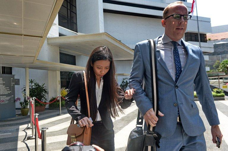 Former girlfriend Shirley Sarmiento and former neighbour Michael Goodwin of Shane Todd, in Singapore, on May 13, 2013
