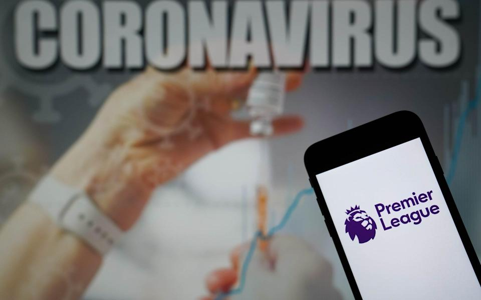 File photo dated 09-01-2021 of the Premier League logo displayed on a mobile phone with a Coronavirus illustration on a monitor in the background. Issue date: Monday September 6, 2021. PA Photo. Two individuals connected to Premier League clubs have tested positive for Covid-19 in last week's testing, the lowest number recorded so far this season - PA