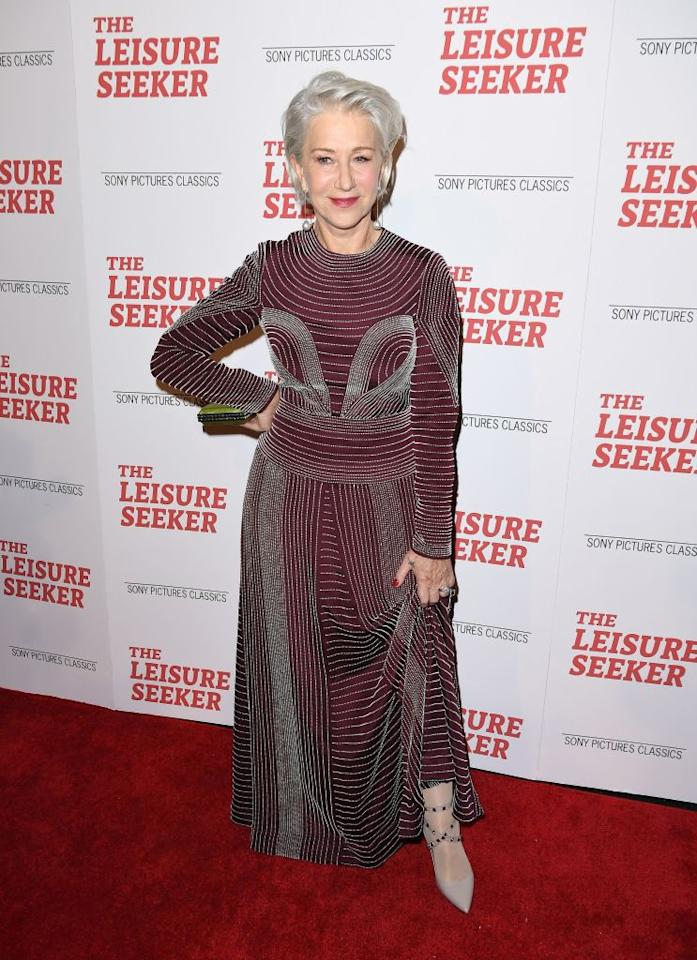 <p>Helen Mirren chose a burgundy-hued dress for the New York premiere of upcoming film, 'The Leisure Seeker'. <em>[Photo: Getty]</em> </p>