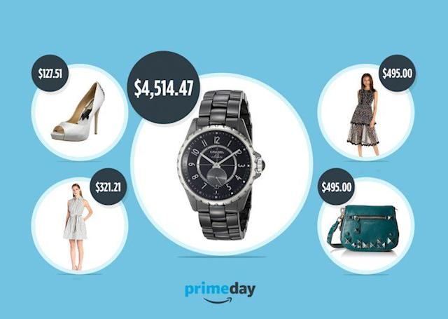 Amazon Fashion lists Prime Day deals, from left to right: Badgley Mischka shoes, a Milly dress, a Chanel watch, a Cynthia Rowley dress, and a Marc Jacobs purse. (Photos Courtesy of Amazon Fashion)