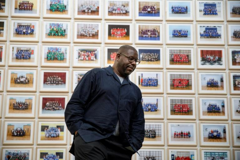 British artist and filmmaker Steve McQueen at the Tate Britain opening of his schools photographic project