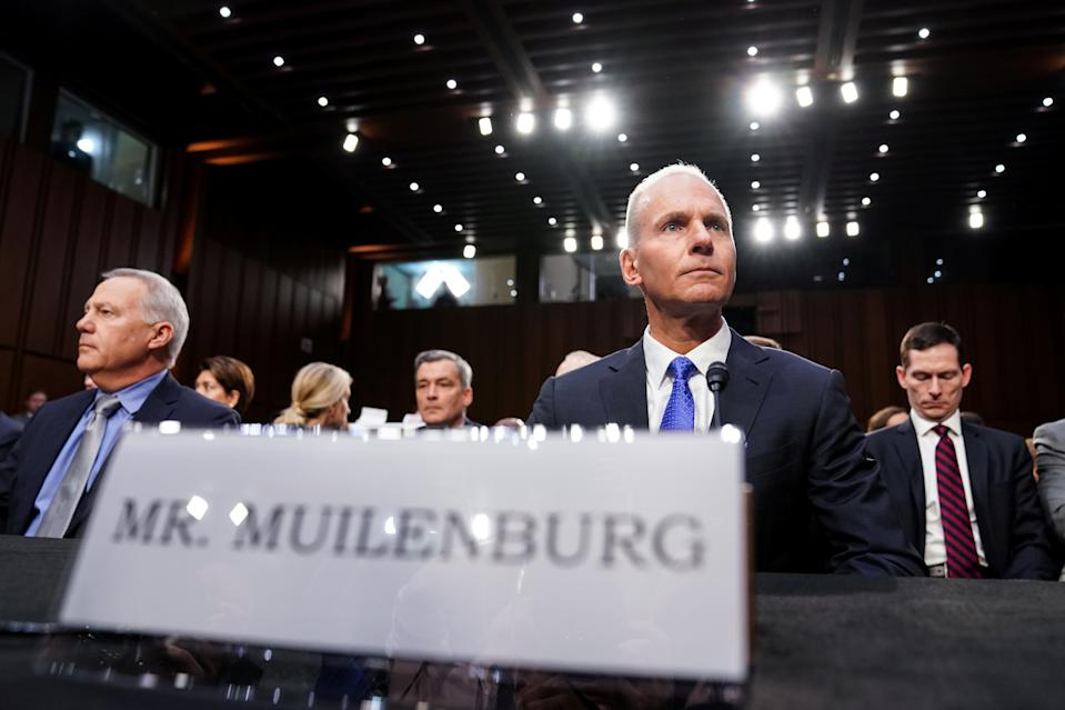 """Boeing Chief Executive Dennis Muilenburg testifies before a Senate Commerce, Science and Transportation Committee hearing on """"aviation safety"""" and the grounded 737 MAX after two deadly 737 MAX crashes killed 346 people, on Capitol Hill in Washington, U.S., October 29, 2019. REUTERS/Sarah Silbiger"""