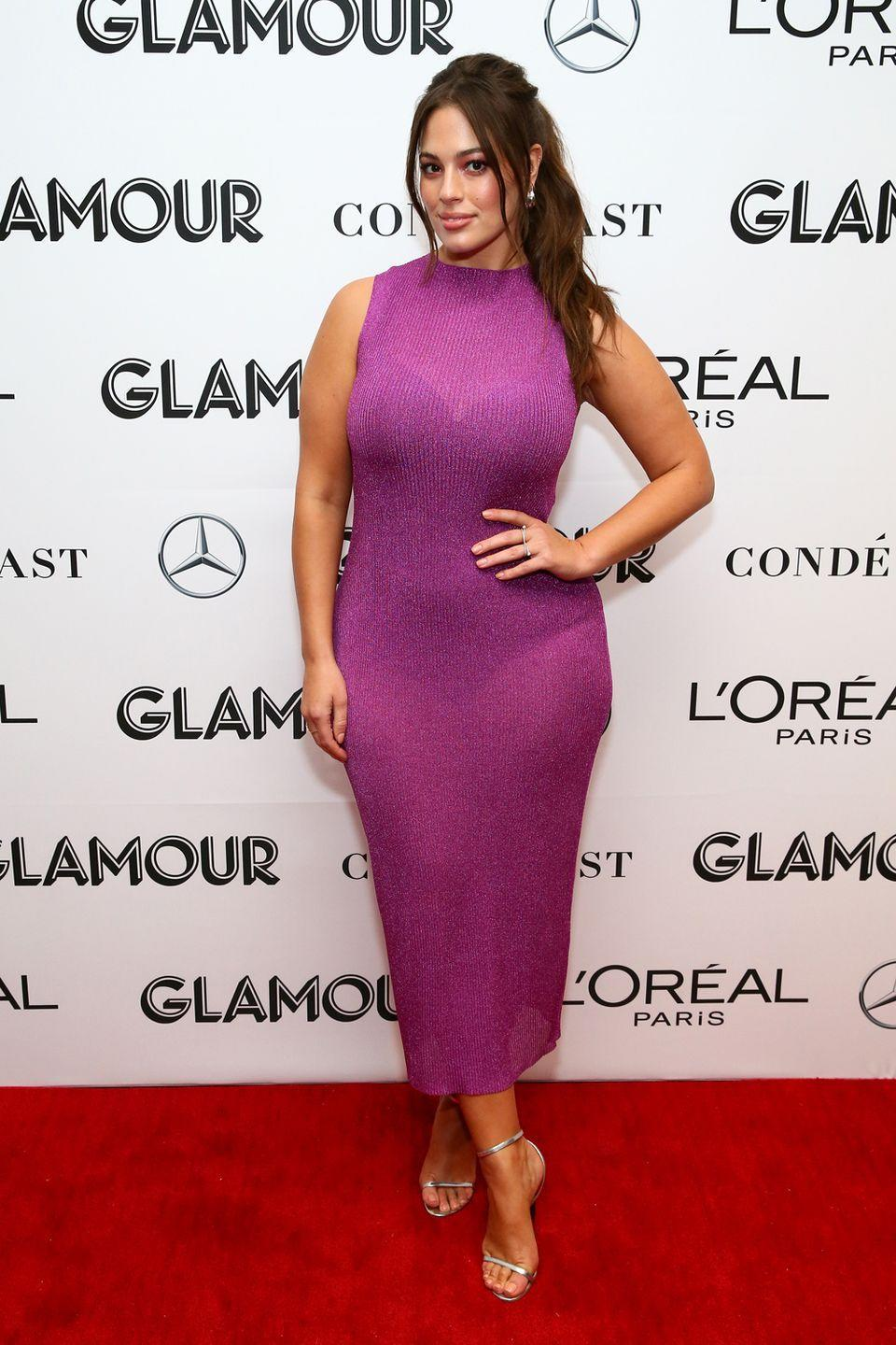 <p>Attending Glamour's Women of the Year Summit: How do you manage to pull of a sexy business look? Well Ashley just nailed it with this very sheer, and very purple shift dress. Maybe we need to put our bra and pants on display more often...</p>